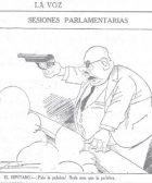 Dibujo de Indalecio Prieto apuntando con un arma