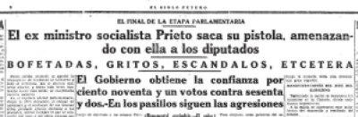 Titular de la noticia de la pistola de Indalecio Prieto