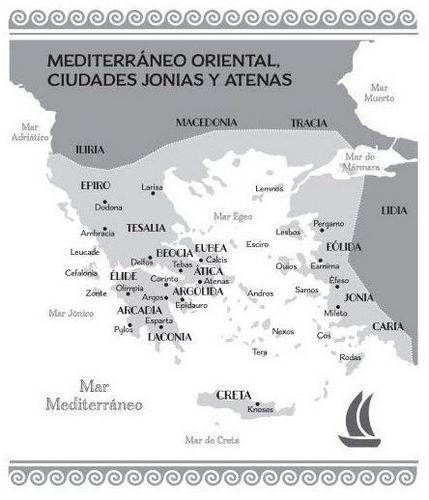 Imagen del mapa de Grecia del libro de Carlos García Gual Grecia para todos