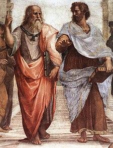 Pintura de Platón y aristóteles en la escuela de Atenas de Rafael Sanzio