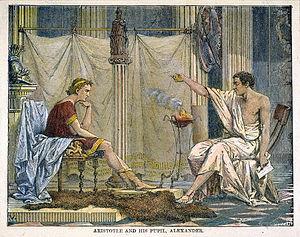 Ilustración de Aristóteles enseñando a Alejandro Magno
