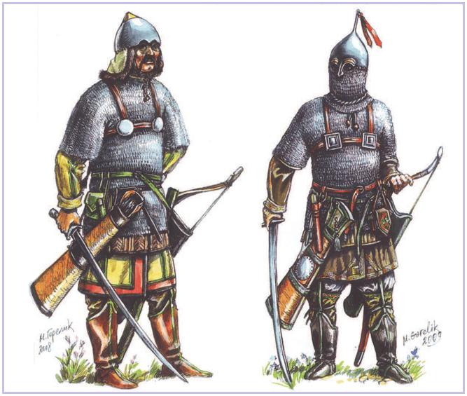 Ilustración de guerreros cumanos del siglo XIII y XIV.