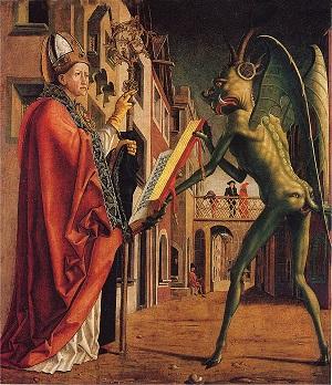 Teófilo de Adana pactando con el diablo